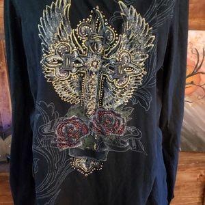 Black rhinestone and cross embellished print shirt